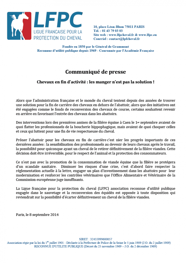 CP LFPC 2014 09 08 600x849 Cheval en fin dactivité : les manger nest pas la solution !